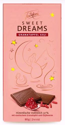 Feodora Hachez Sweet Dreams csokoládécsalád - Mennyei gránátalmás, goji bogyós tejcsokoládé 80gr