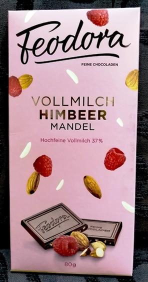 Feodora Hachez Sweet Dreams csokoládécsalád - Mennyei málnás, mandulás tejcsokoládé 80gr