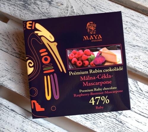 Maya Chocolate Prémium Maya ősi csokoládésorozat - Ruby Red 47% Rubin csokoládé Málna & Cékla & Mascarpone 100gr
