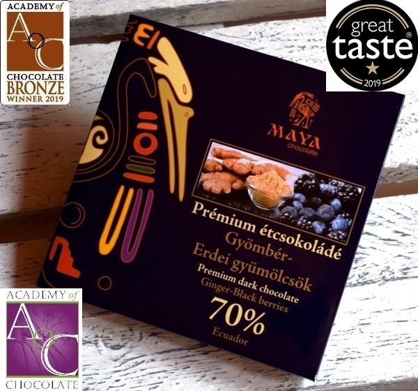 Maya Chocolate Prémium Maya ősi csokoládésorozat - 70% Ecuador étcsokoládé gyömbérrel és erdei gyümölcsökkel 100gr