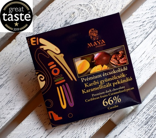 Maya Chocolate Prémium Maya ősi csokoládésorozat - 66% Caraibe étcsokoládé karibi gyümölcsökkel és karamellizált pekándióval 100gr