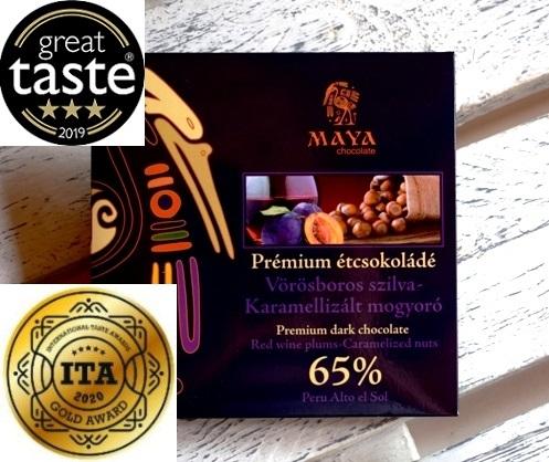 Maya Chocolate Prémium Maya ősi csokoládésorozat - 65% Alto el Sol étcsokoládé Vörösboros szilva & Karamellizált mogyoró 100gr