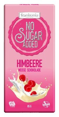 Frankonia cukormentes és gluténmentes csokoládé édesítőszerrel - Málnás fehércsokoládé 80gr