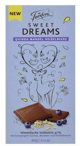 Feodora Hachez Sweet Dreams csokoládécsalád - Mennyei áfonyás, mandulás, quinoás tejcsokoládé 80gr