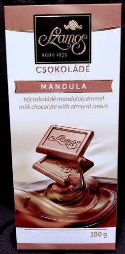 Szamos táblás csokoládécsalád - Mandulakrémes tejcsokoládé 100gr