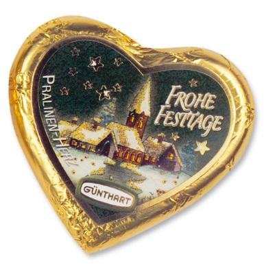 Karácsonyi ünnepi arany töltött szív csokoládé 24gr